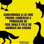 Sancionada a lei que proíbe comercialização de foie gras e artigos com pele de animais!